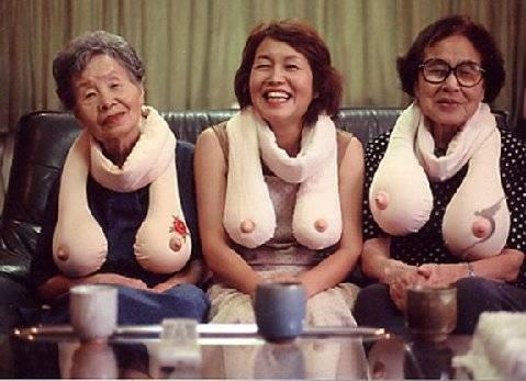 Funny picture of grannies in Japan with funny boob like scarf