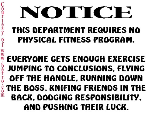 Notice about work's physical fitness program